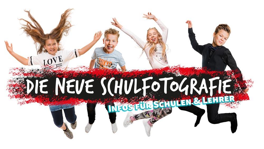 Logo Neue Schulfotografie fuer Schulen mit vier springenden Kindern